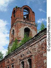 orosz, templom, részletez,  half-ruined, ortodox