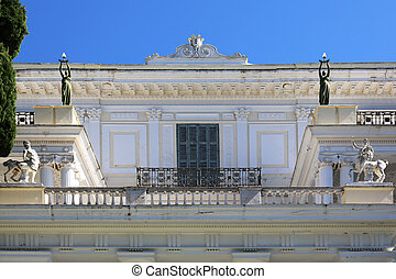 Achillion Corfu Greece - facade details of the Achillion in...