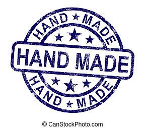 mão, feito, selo, mostra, Original, feito à...