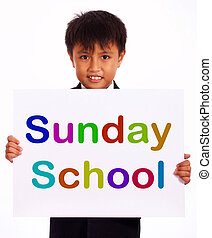 Sunday School Sign Showing Christian Kids Activity - Sunday...