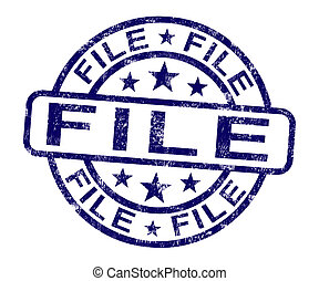 File Stamp Shows Organising Documents And Papers - File...