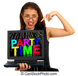Girl With Party Time On Screen Showing Celebration