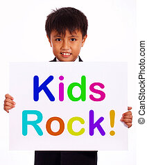 Kids Rock Sign As Symbol for Childhood And Children