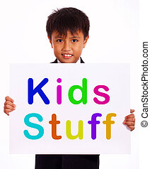 Kids Stuff Sign Shows Childrens Play Things