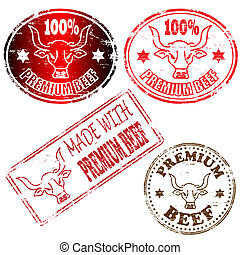Premium Beef Stamp - 100 percent and made with premium beef...