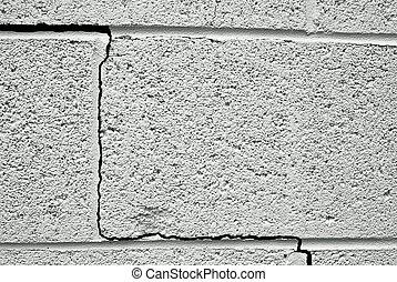 fenda, concreto, predios, fundação