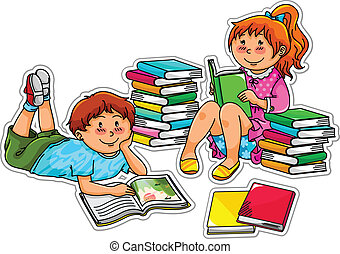 reading kids - two kids reading books