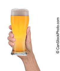 Hand Holding Glass of Foamy Beer - Closeup of a male hand...