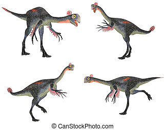 Gigantoraptor Pack - Illustration of a pack of four 4...