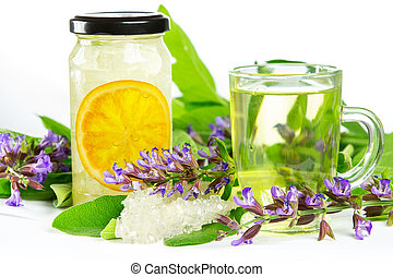 Sweet herbal tea and naturopathy - Glass of sweet herbal tea...