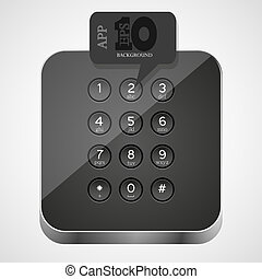 Vector keypad app icon with black bubble speech. Eps10