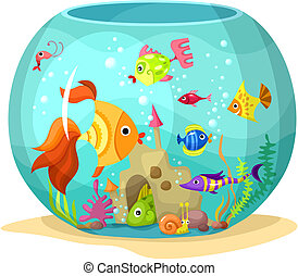 aquarium - vector illustration of a cute aquarium