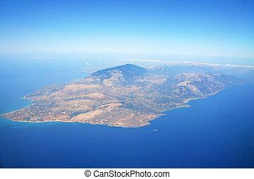 Zakynthos Island aerial view from plane