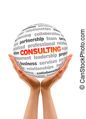 Consulting - Hands holding a Consulting Word Sphere on white...