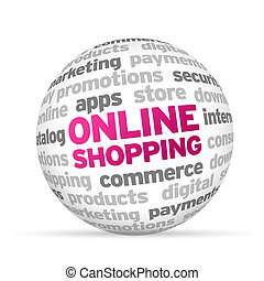 Online Shopping - 3d Online Shopping Word Sphere on white...