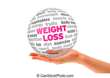 Weight Loss - Hand holding a Weight Loss Word Sphere on...