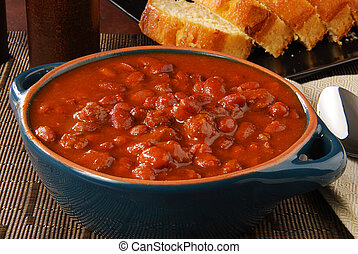 Bowl of steaming hot chili - A bowl of hot chili con carne...