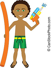 Mixed Afro Boy - Vector Illustration of little boy with...