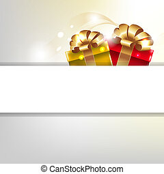 Gift Poster With Box And Gold Ribbons