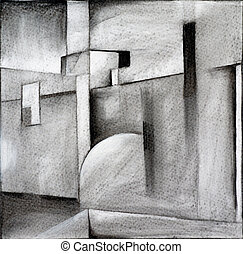 charcoal abstraction - an abstract charcoal drawing