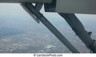 Aerial view. Plane gear. - Aerial view from reduced...