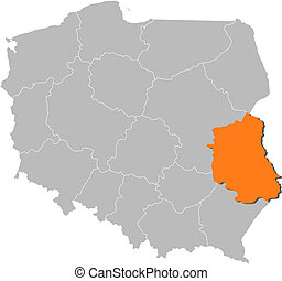Map of Poland, Lublin highlighted
