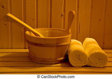 Wooden sauna equipment