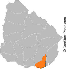 Map of Uruguay, Maldonado highlighted