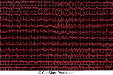 rojo, gráfico, cerebro, onda, EEG, aislado