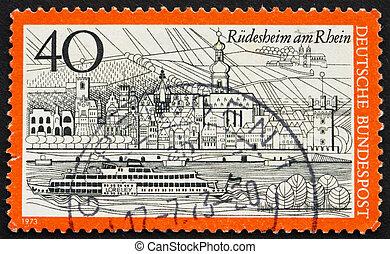 Postage stamp Germany 1973 Rudesheim am Rhein, Germany -...