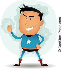 Comic Superhero Character - Illustration of a funny cartoon...