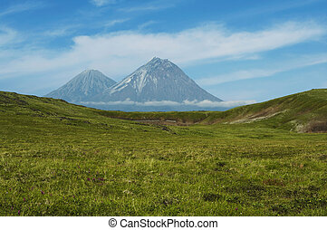 Volcano on Kamchatka - Volcano Kluchevskoj and Kamen on...