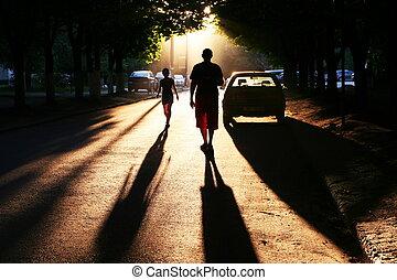 Street scene on sunset