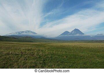Volcano on Kamchatka - Volcano Kluchevskoj and Kamen on...