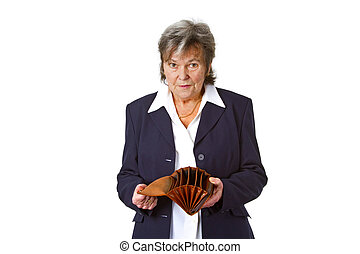 Female senior showing empty wallet - isolated on white...