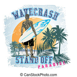 STAND OFF WAVE - illustration for shirt printed and poster