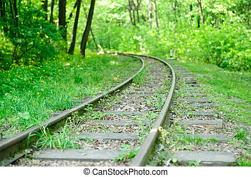 Abandoned railway in forest - A view on an abandoned rairoad...