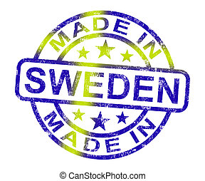 Made In Sweden Stamp Shows Swedish Product Or Produce - Made...