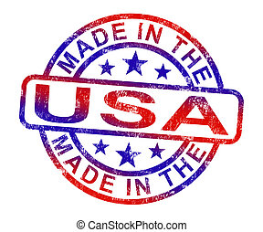 Made In USA Stamp Shows American Products Or Produce - Made...