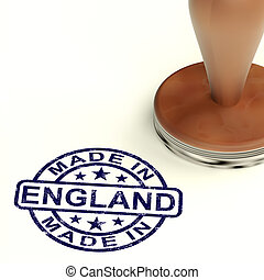 Made In England Stamp Showing English Product Or Produce