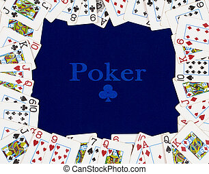 The frame of the poker cards on a blue background