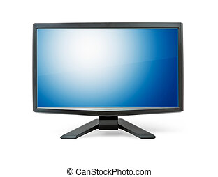 Computer monitor with blue flat wide screen isolated on...