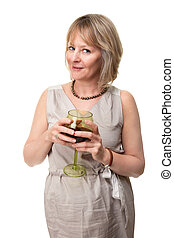 Smiling Woman Holding Wine Glass