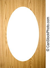 Isolated white oval on wood imitation background - Isolated...
