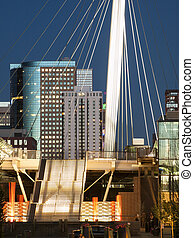 Denver Millennium Bridge at sunset.