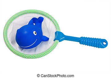 fish in fishing net - fish whale toy in fishing net solated...