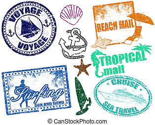 Summer stamps - Set of grunge summer stamps, vector...