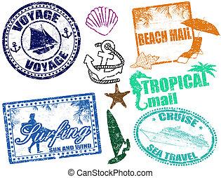 Summer stamps - Set of grunge summer stamps, vector...