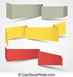 Vector set of origami banners for web design