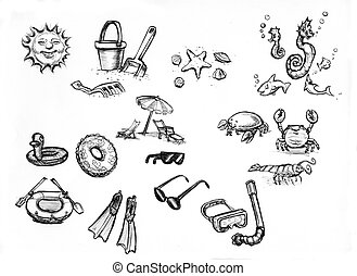 summer beach items - hand drawn sketches of summer beach...